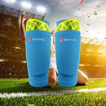 1 par de espinilleras de fútbol para adolescentes con bolsillo para espinilleras de fútbol, calcetines de fútbol con mangas, calcetines protectores de apoyo para fútbol