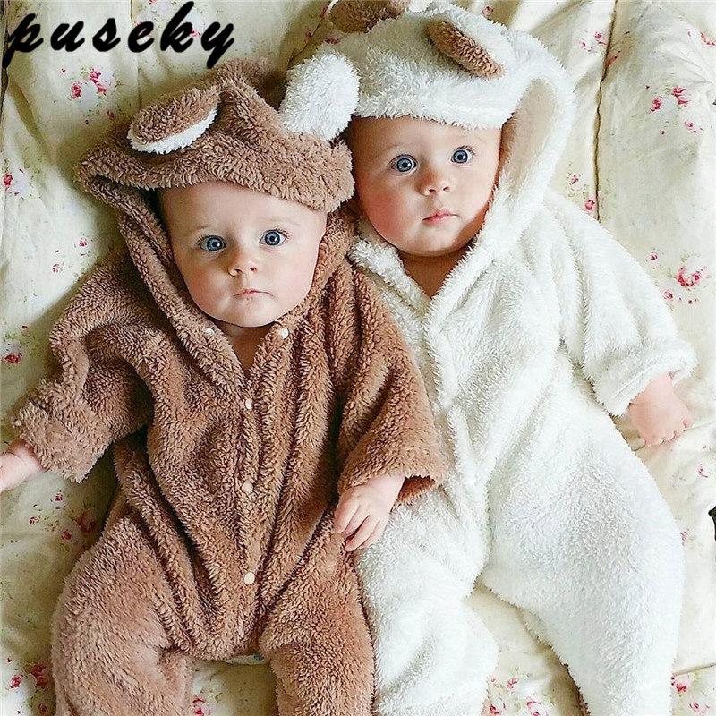 Puseky Super Cute Infant Wear Cartoon Bear Plush Siamese Sweater Baby Crawling Clothes Home Pajamas Winter Warm Rompers Hooded