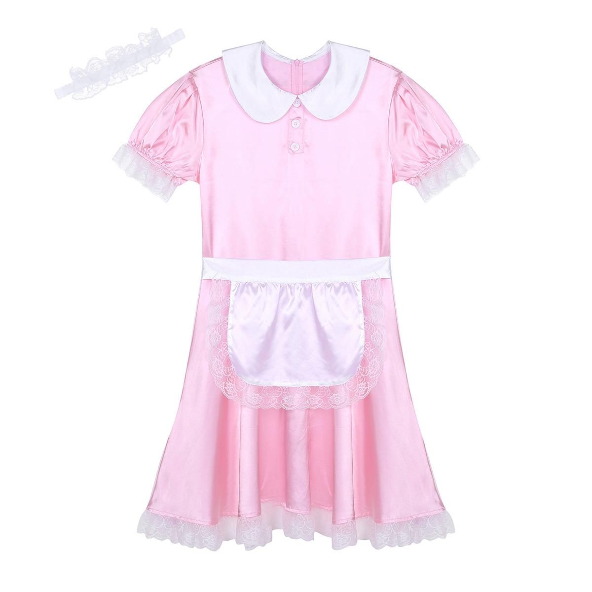 Msemis 3 Stks/set Mens Sissy Meisje Maid Lingerie Jurk Uniform Sexy Rollenspel Kostuum Satijnen Jurk Met Hoofdband En Schort Pop Hals