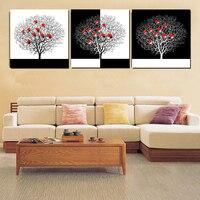 3 Stuk Bomen Schilderijen Decoratieve Abstract Schilderen Canvas Art Zwart Wit Boom Met Rood Hart Muur Foto Ingelijst Geen