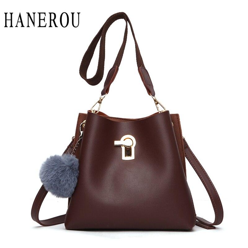 HANEROU Ladies Bucket Bag Women Handbags Designer Pouch Cross Body Women  Shoulder Bag Small Fur Ball 27ca5e021741a