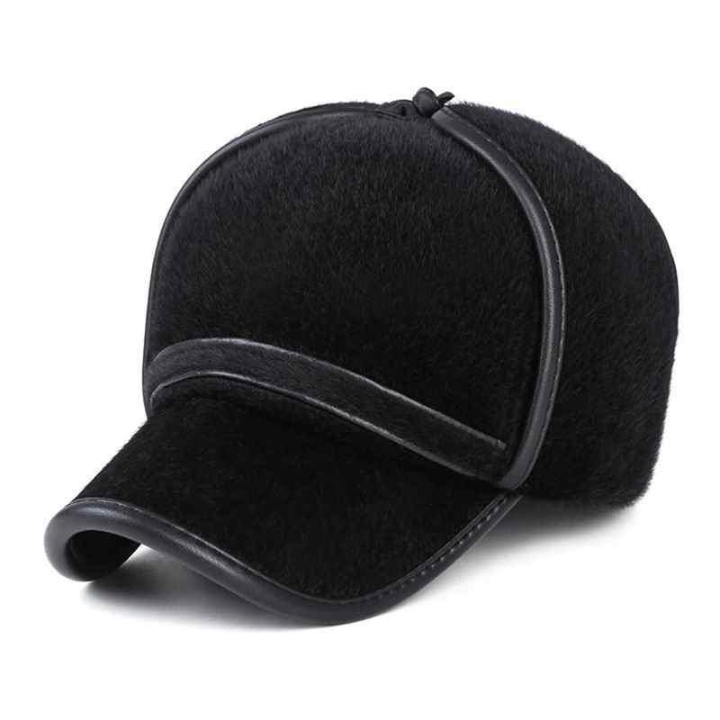 df6e3b23542 ... Thick Fur Winter Hat Fashion Mink Fur Man Warm Baseball Cap Face  Protection Fur Hat Windproof ...