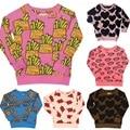 6 цвет Детей свитер рубашка + шаровары Сердца Чипы Сгущает Хлопок Ткань Наборы детские Детская Одежда брюк Hugolovestiki Бренд