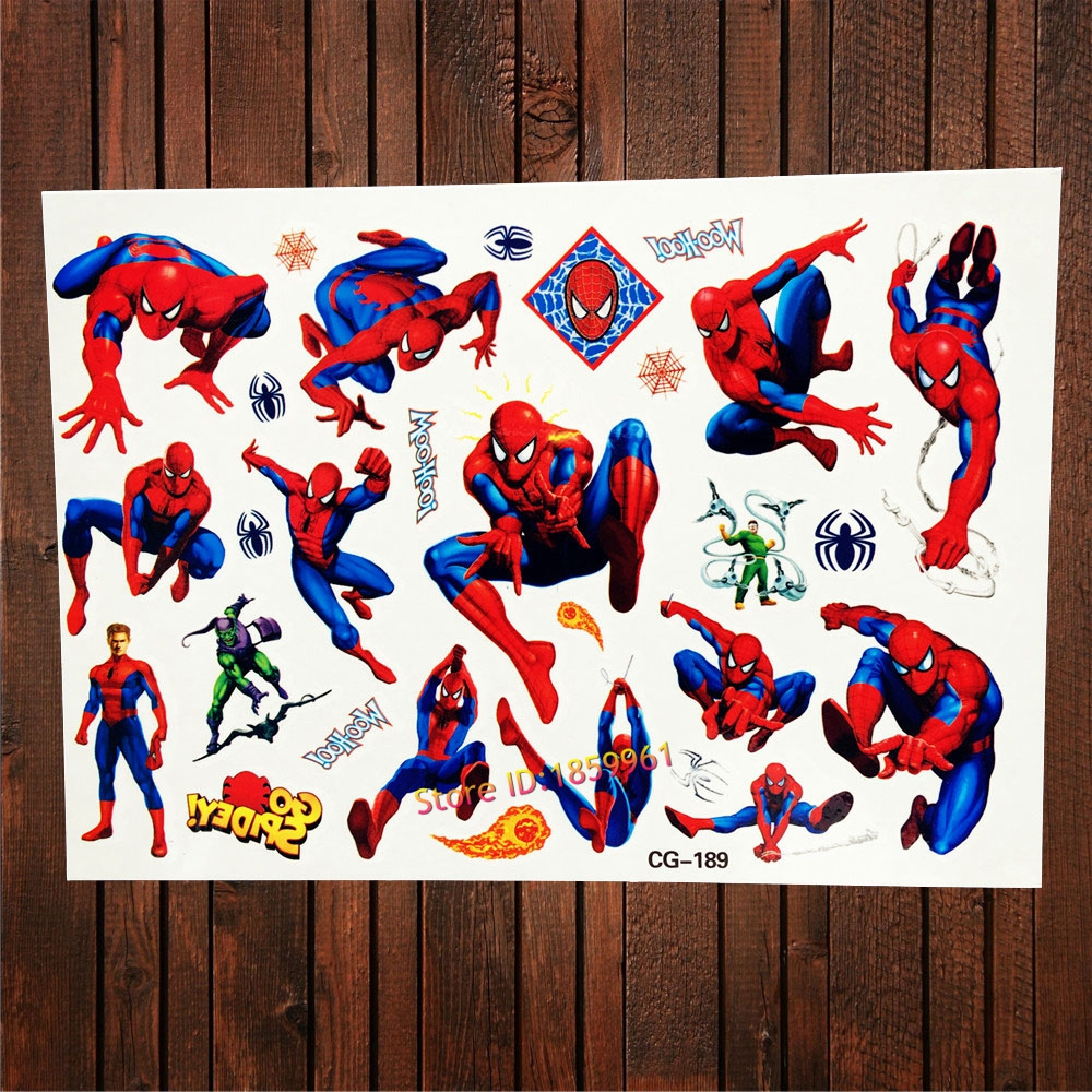 Fanrui design superhero cartoon spiderman for Superhero temporary tattoos