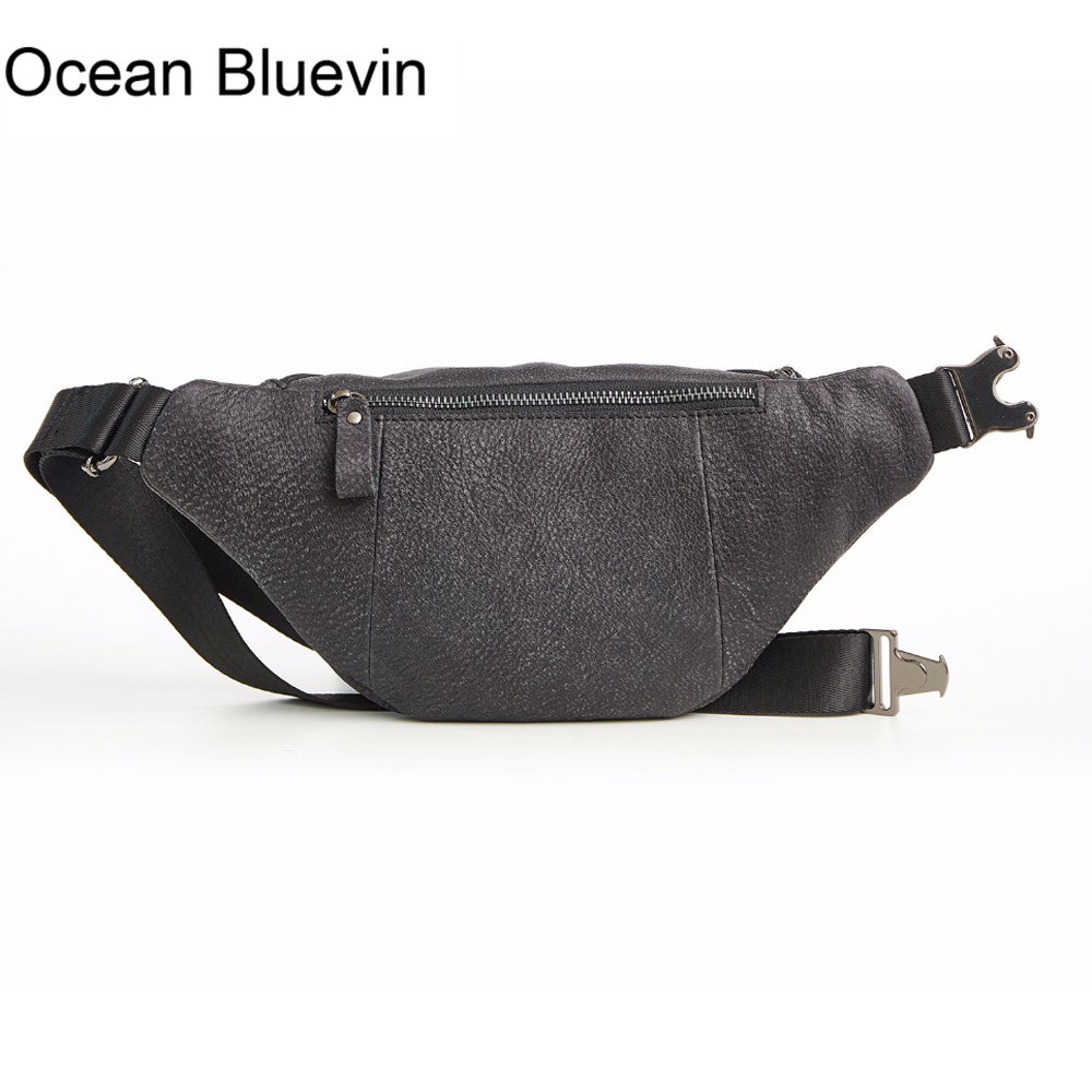 OCEAN BLUEVIN New Hot Genuine Leather Mens Chest Bag Pack Vintage Waist Bag Crossbody Shoulder Bags