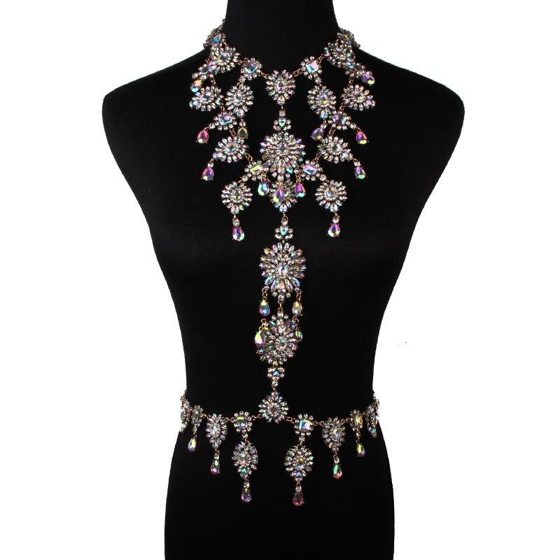 2017 Venda Quente Mulheres Jóia de Cristal Declaração de Luxo Colar de Pingente de Cristal Colorido Longo Sexy Cadeia Colar de Flores de Jóias