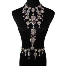 Venta caliente Collar de la Declaración de Lujo Cristalino Colorido Largo Cuerpo de La Mujer Joyas de Cristal Sexy Collar de Cadena Cuerpo de Joyas