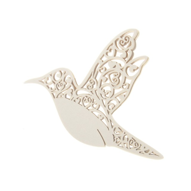 Wholesale 120PC Ivory Dove Love Heart Wine Glass Name Card Paper