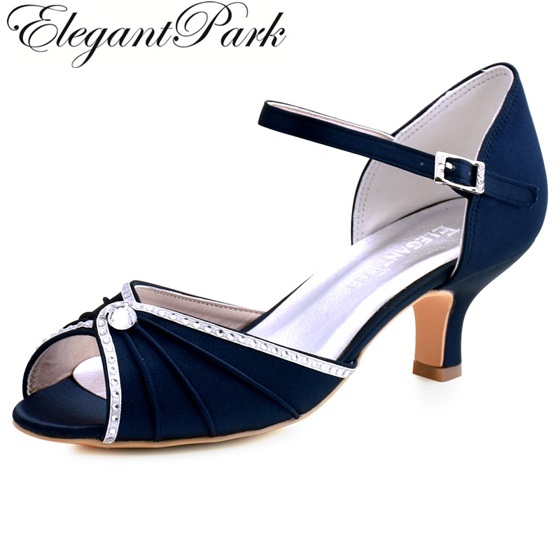 2910d40339 Navy Blue Woman Bridal Wedding Sandals Med Heel Peep toe Bride Bridesmaid  Lady Evening Dress Shoes