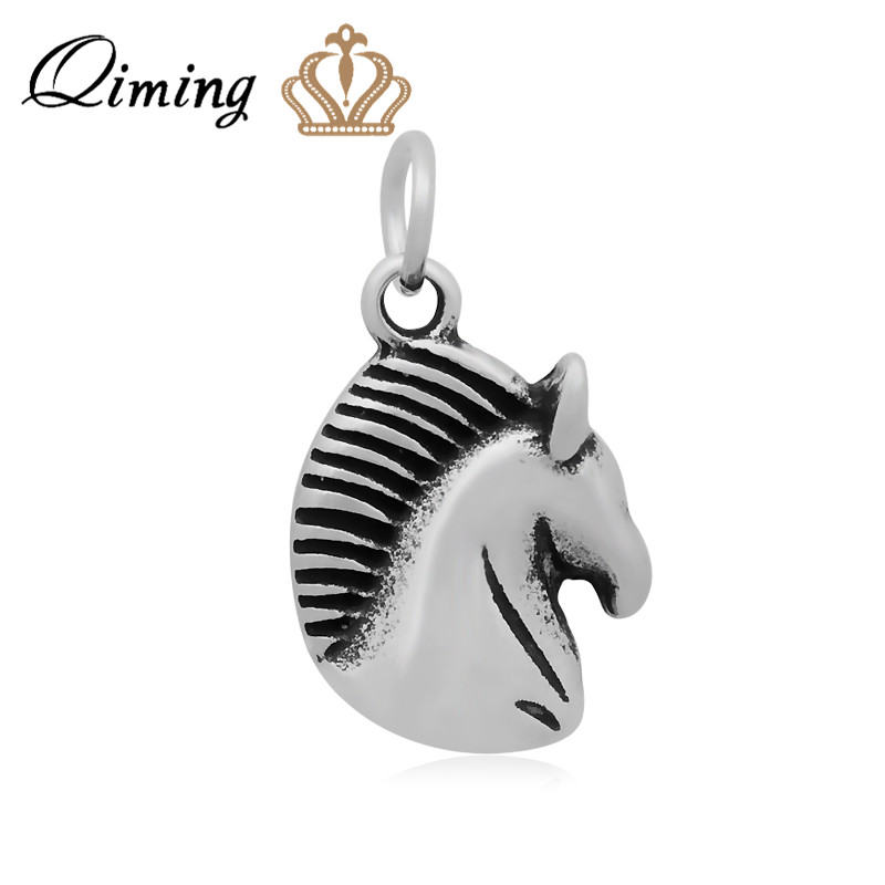 Kiming Jewelry Co., LTD QIMING 10pcs/lot S316l Stainless Steel Antique Silver Jewelry Cute Animal Charm Tiny Horse Pendant Jewelry Making Accessories