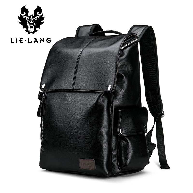 LIELANG Men Backpack PU Leather Male Functional bags Waterproof Black Backpack Men School Bags Laptop For