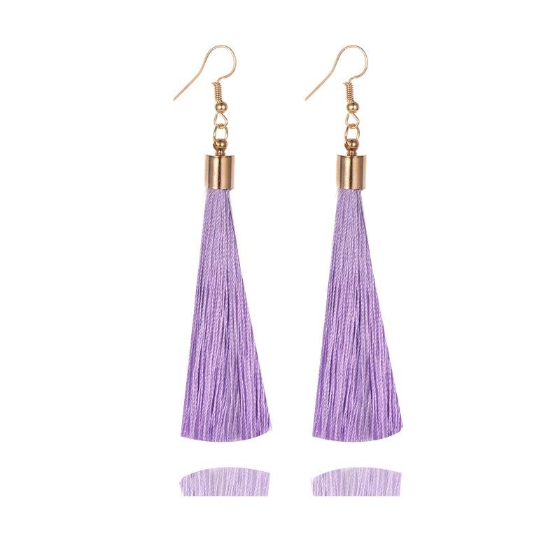 Handmade Tassel Earrings Women Gold Color Fashion Jewelry Bohemian Drop Dangle Long Earrings Silk Fabric Ethnic Vintage Earrings