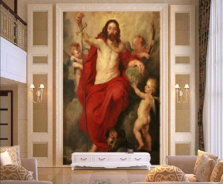 Free Shipping European oil painting religious mural Jesus Angel background 3D custom living room Hotel wallpaper mural  free shipping large mural wallpaper villa living room ceiling european oil painting wallpaper