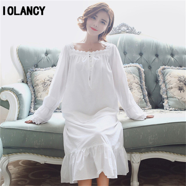 ac8b140f50 Maternity Pajama Clothes Cute Princess White Long-sleeved Nightgown Palace  Retro Loose Soft Cotton Pajamas Pregnant Women YFQ141