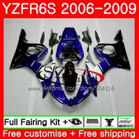 Body For YAMAHA YZF R6 S YZF R6S 06 09 Bodywork 61NO.1 YZFR6S 06 07 08 09 YZF R6S 2006 2007 2008 2009 Fairings kit Blue white