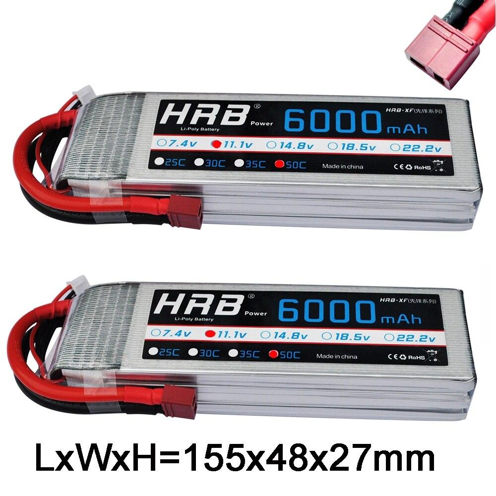 2 unités HRB FPV 450 500E 11.1 V 6000 mAh 50C 100C 3 S RC LiPo batterie pour hélicoptère bateau Traxxas voiture HPI e-revo 2.0 Xmaxx 1/8 1/10