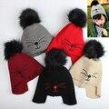 Sólida Bola De Pêlo Tampas Do Bebê Gato Bonito Crianças Chapéus de Inverno Crochet gorro Hairball Chapéu Do Bebê Menino Quente Malha Meninas Recém-nascidas Crianças Chapéus