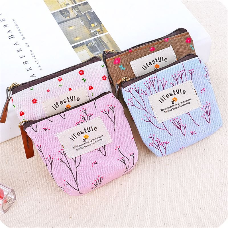 1PC Cute Mini Floral Canvas Coin Cases Keys Bags Girls Money Card Change Pouch Zip Holder Wallets Nine Colors Available S31