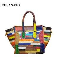 CHSANATO 2018 Luxury Brand Designer Classic Colorful Smiley Cross Body Tote Women Bag Genuine Leather Smile Face Purse lady bag