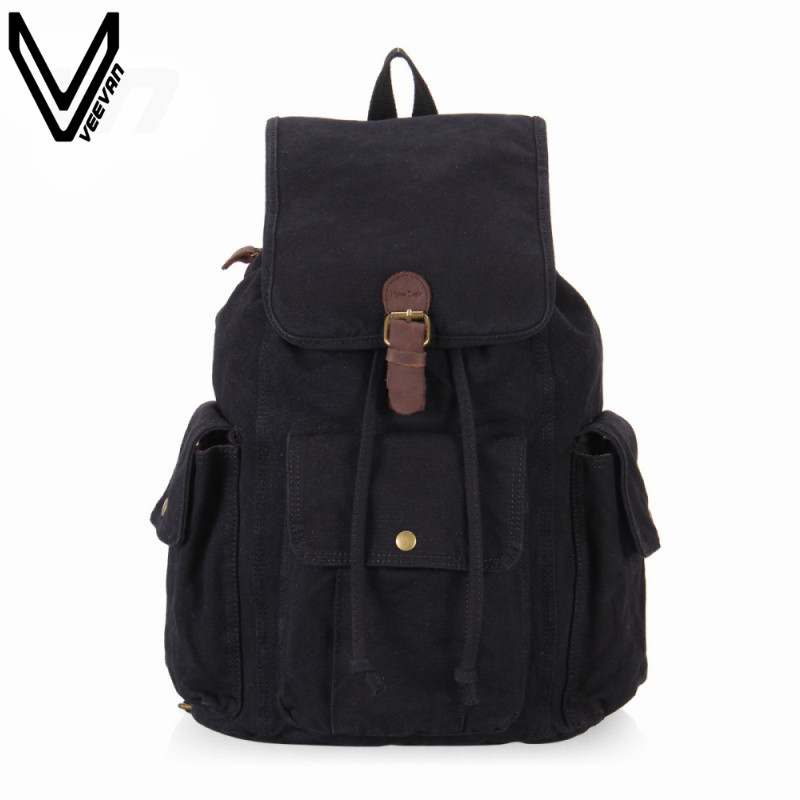 VEEVANV 2016 Hot Sale Vintage Canvas Backpack For Teenagers Men Casual Shoulder Bags Laptop Travel Black Backpack New Fashion newest hmong embroidered women backpack black canvas ethnic casual travel backpack fashion vintage laptop bags