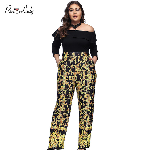 4a368d67f21 Party Lady Plus Size Loose Sexy Club vintage Women Jumpsuits Digital Print  Rompers Slash Neck Gold Color Full Length Rompers -D