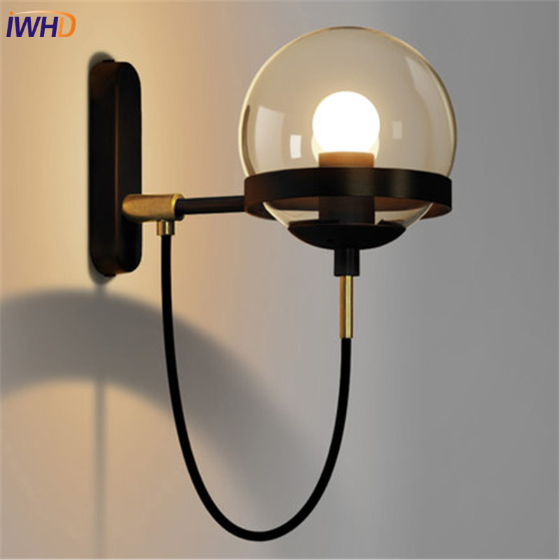 Loft Style Glass Ball Industrial Vintage Wall Light Fixtures Bronze Iron Antique Lamp LED Bedside Wall Sconce Lampara Pared loft style industrial vintage wall light fixtures golden iron glass lampshade antique lamp edison wall sconce lampara pared