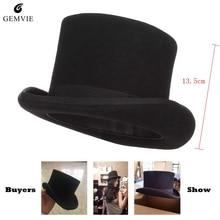 Negro Steampunk sombrero lana sombreros para mujer loco sombrerero sombrero  caballero británico hombres sombreros magia mago 0f6f5c7ddba