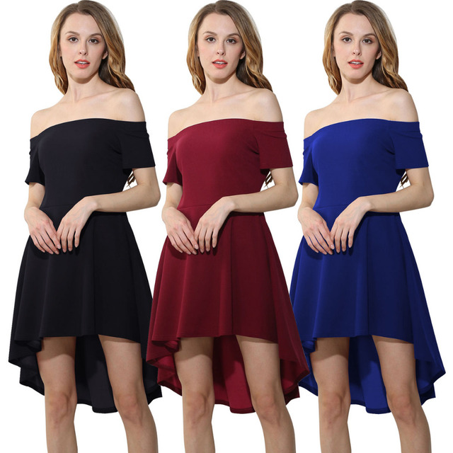 f76e9b3bff AMGJ Elegant Women 2017 for Party Casual Vintage Dresses Sexy Off Shoulder Burgundy  All The Rage Skater Dress Vestidos de Festa