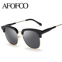 AFOFOO Mode Femmes Polarisées Lunettes De Soleil De Luxe Marque Designer Demi-Trame Dames Hommes Revêtement Miroir lunettes de Soleil UV400 Nuances(China (Mainland))
