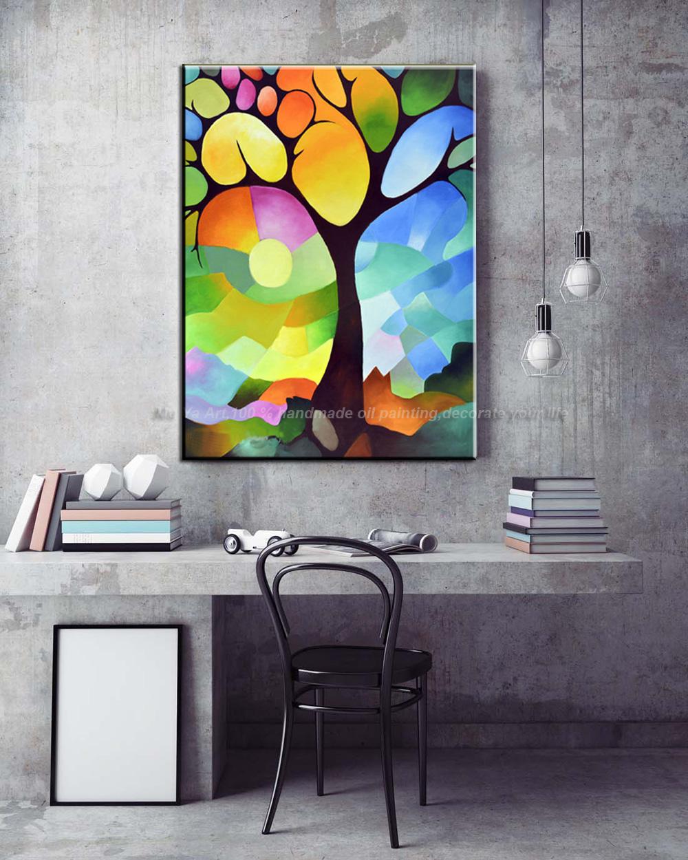 Vertikale moderne baum malerei abstractas handmade leinwand ...