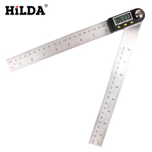 On sale HILDA 200mm Digital Protractor Inclinometer Goniometer Level Measuring Tool Electronic Angle Gauge Stainless Steel Angle Ruler