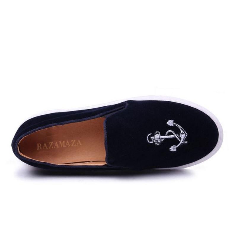 Leaisure Noir Réel Vintage Appartements Razamaza bleu Femmes Véritable Taille Mocassins Chaussures 33 En 40 Broderie Cuir WQBrxoCed