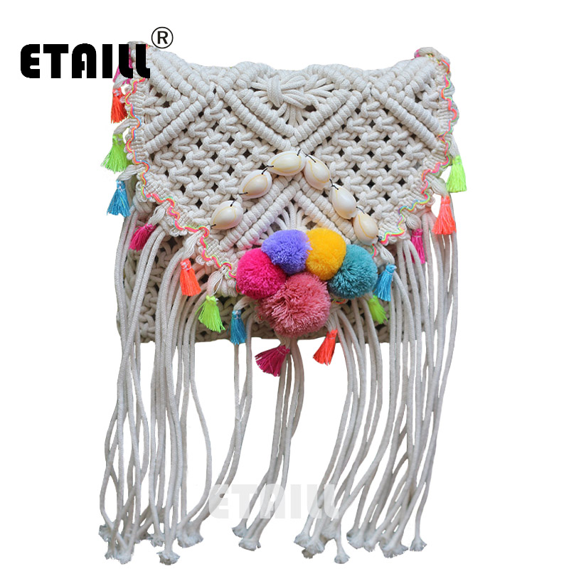 Ethnic Hippie Hobo Corss Body Bohemian Beach Bag Straw Women Crochet Fringed Pompon Tassel Luxury Brand With Logo Shoulder Bag fringed crochet tank top