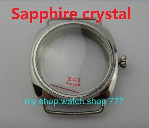 45 мм сапфировое стекло из полированной нержавеющей Дело Fit 6497-6498 движение высокое качество корпуса часов оптовая продажа 010a