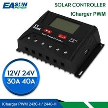 Controlador de carga Solar EASUN, controlador Solar de 30a 40a PWM, regulador de voltaje USB 5V, pantalla Lcd, regulador Solar de 12V 24V
