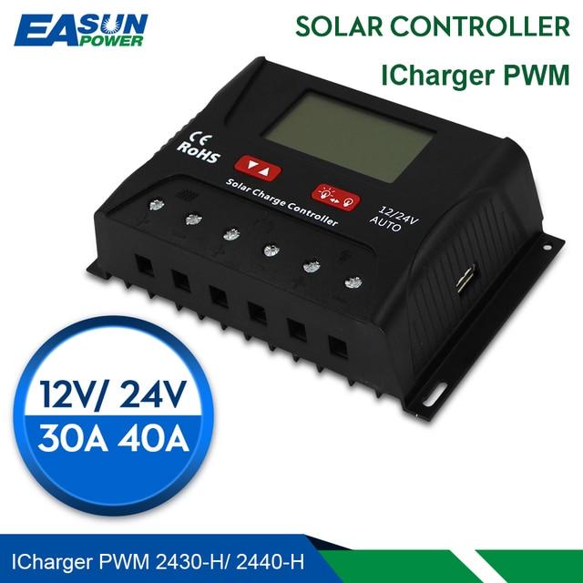 EASUN الطاقة الشمسية جهاز التحكم في الشحن 30A 40A PWM جهاز تحكم يعمل بالطاقة الشمسية USB 5 فولت الجهد المنظم شاشة الكريستال السائل 12 فولت 24 فولت منظم الطاقة الشمسية