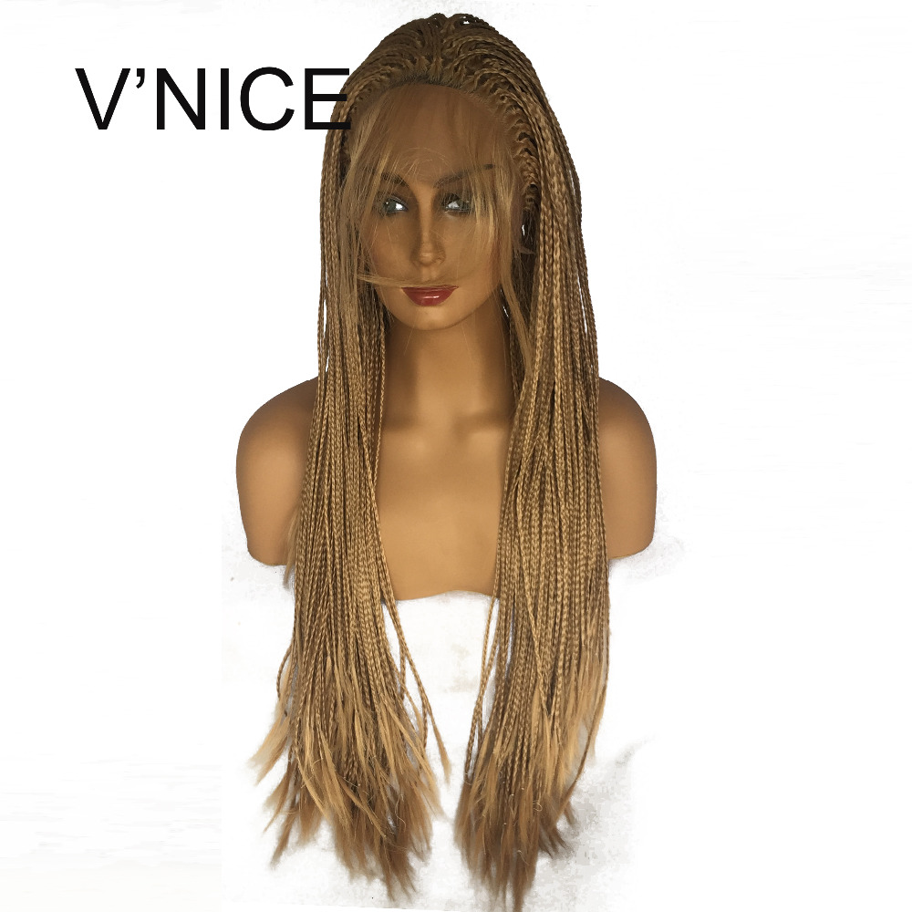 V'NICE Honey Blonde Glueless Synthetic Lace Front Braid Wig with Baby Hair Heat resistant Fiber Braided Box Braids Wig 27# Color-in Synthetic Lace Wigs from Hair Extensions & Wigs    1