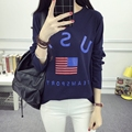 Kesebi 2017 Spring Summer Female O-neck Letters Casual Loose Tops Women Korean Students Long Sleeve T-shirts SJ1FA37#7013
