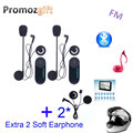 Extra 2 Soft Earphone! 2PC 800M TCOM-VB HiFi Bluetooth Helmet Intercom Headset Motorcycle Intercom Bluetooth BT Interphone