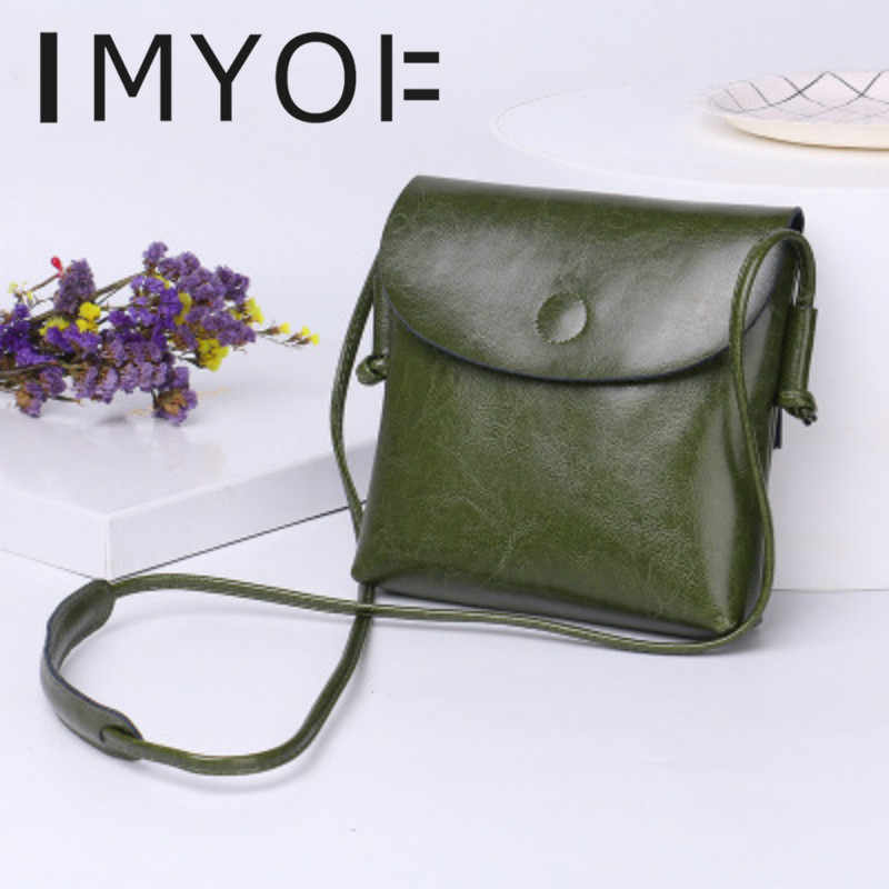 IMYOK 2019  Fashion New Casual Genuine Leather Ladies Bag Cowhide Single Shoulder Crossbody Mini  Bag Simple Women Designer Bags