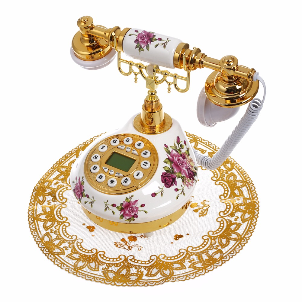 лучшая цена Antique Landline Telephone With Call ID Date Clock Adjust Ring Without Battery Classical Phone For Home Office