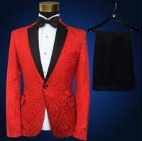 Red blazer men formal dress latest coat pant designs marriage suit men lace embroidery masculino trouser wedding suits for men's