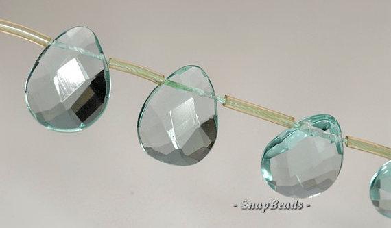 24x20mm Green Quartz (Glass) Gemstone Faceted Teardrop Loose Beads 6.5 inch Half Strand (90144058-B24-542)