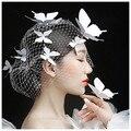 Корея Свадебные Вуаль Бабочка Заколки Тиара Свадебные Аксессуары Для Волос Ювелирные Acessórios Casamento Para Mulher