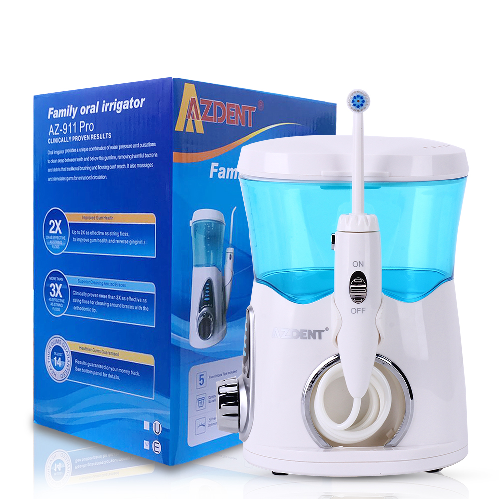 AZDENT Electric Oral Irrigator 600ML Dental Flosser Tooth Floss Water Jet Pick Water Pick Portable Dental Irrigator недорого
