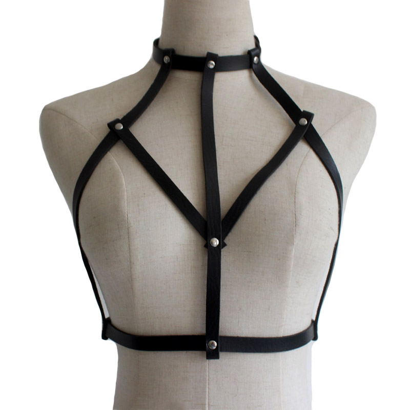 New leather Goth Lingerie Elastic Choker Harness belt cage bra lingerie Bondage Leather Body harness belts sexy accessories lingerie top