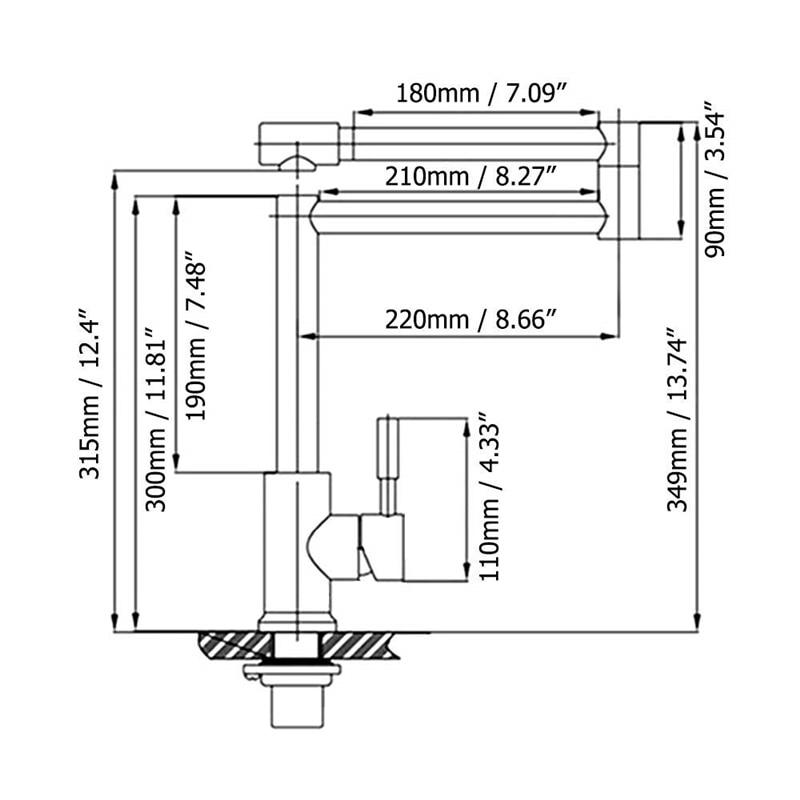 Hongdec Enkel Handvat Pot Filler Opvouwbare kraan Roestvrijstalen Aanrecht Kraan Chrome - 5