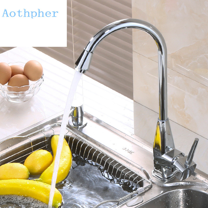 Aothpher Modern Kitchen Faucet Deck Mounted Mixed Cold and Hot Tap Chrome finished Solid Brass Single