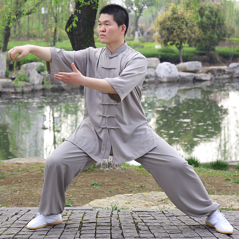 1 Set  Taichi Clothing And Cotton Short Sleeved Summer Men's And Women's Adult Martial Arts Clothing Kungfu Exercis