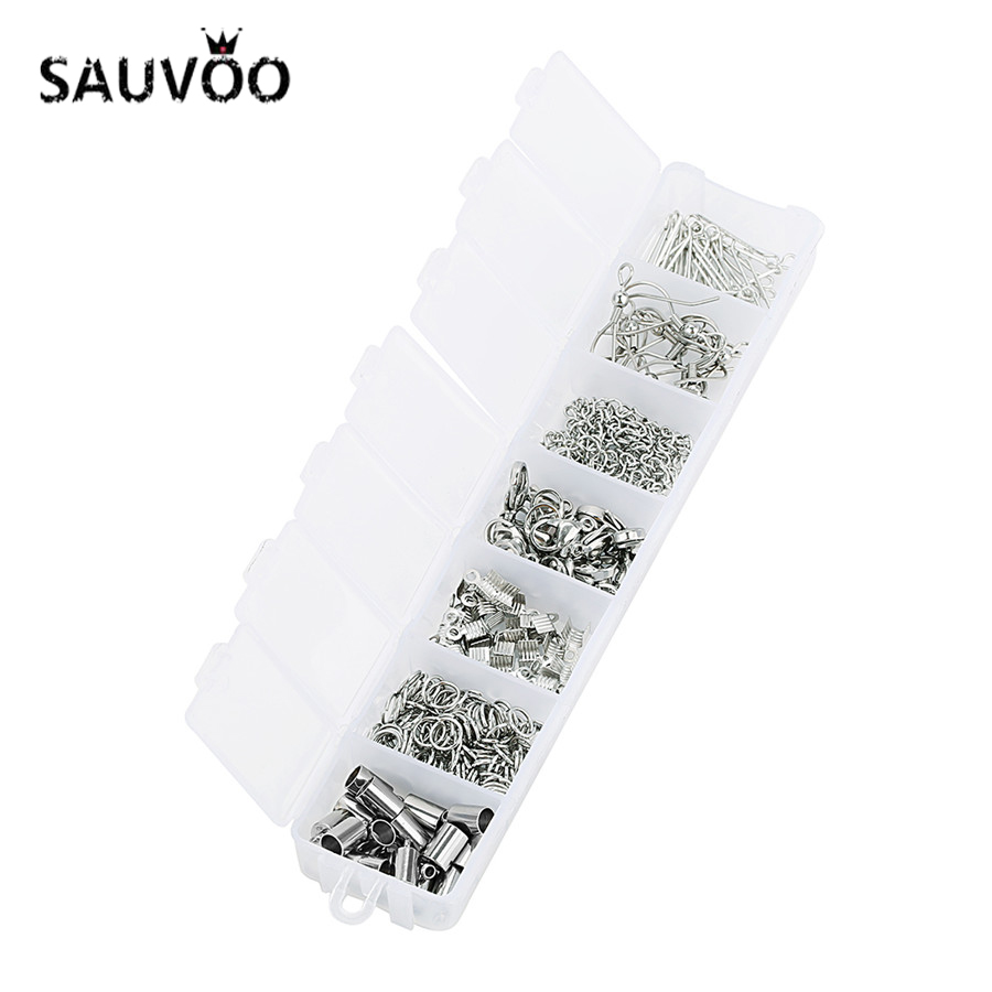 SAUVOO 220Pcs/lot Mixed Stainless Steel Clasps Extender Chain Jump Ring Lobster Clasp Earring Hook 9-Pins Diy Jewelry Findings